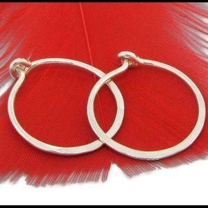 925 Sterling silver hammered classic hoop earrings
